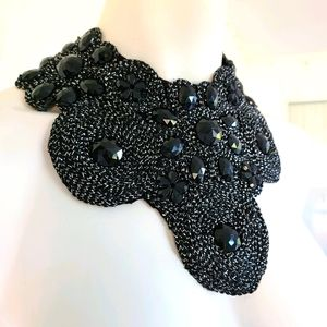 Floral bib necklace art bead embroidery black